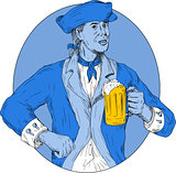 American Patriot Holding Beer Mug Oval Drawing