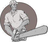 Lumberjack Arborist Holding Chainsaw Oval Drawing