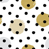 Ink and brush hand drawn seamless doodle design with polka dot and circles.