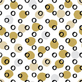 Two color textured polka dot background, seamless vector pattern.