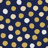 Seamless modern dark blue vector doodle circle dot texture, dry brush ink art.