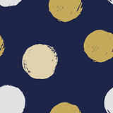 Seamless modern dark blue vector doodle circle dot texture, dry brush ink art.