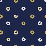 Seamless modern dark blue vector doodle circle texture, dry brush ink art.