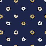 Seamless modern dark blue vector doodle circle texture, dry brush ink art.