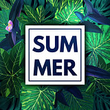Green botanical summer tropical background with palm leaves and exotic purple flowers. Vector floral template.