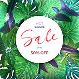 Green botanical summer tropical sale flyer with palm leaves and exotic purple flowers. Vector floral template.