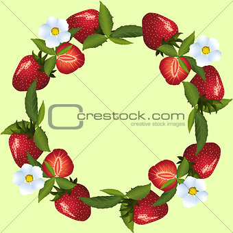 frame of strawberries with green leaves