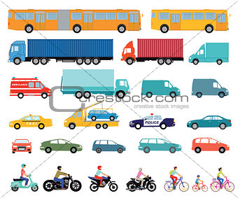 Cars, truck, bus, scooter, motorcycle, set of urban cars