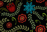 Embroidery trendy floral seamless pattern. Flowers ornament endless background, texture. Vector illustration.