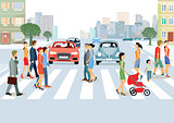 Municipal community with people and cars