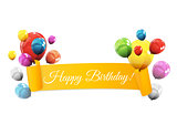 Color Glossy Balloons Birthday Background Vector Illustration