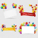 Group of Colour Glossy Helium Balloons with Ribbon Isolated on T