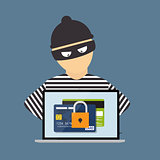 Criminal Hacker, Concept of Fraud, Cyber Crime. Vector Illustrat