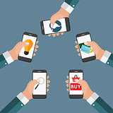 Mobile Apps Concept Online Business, Shopping, E-Commerce in Mod