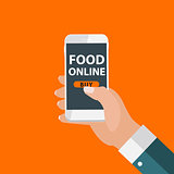 Mobile Apps Concept Online Food Delivery, Shopping, E-Commerce i