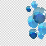 Bunche and Group of Blue Glossy Helium Balloons Isolated on Tran