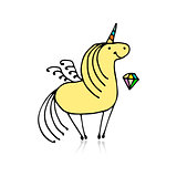 Magic unicorn, sketch for your design