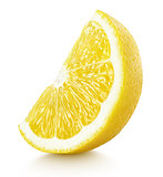 wedge of yellow lemon citrus fruit isolated on white