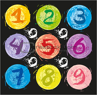 Watercolor spots with numbers.