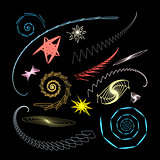Graphical abstract a set of glowing swirls and stars