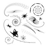 Graphical abstract a set of different swirls and stars