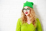 Trendy Smiling Hipster Girl. Greenery Colors.