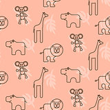 Safari animals kid seamless pattern vector.