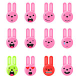 Bunny smile emoji set. Emoticon icon flat style vector.