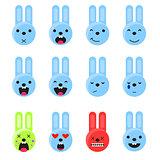 Bunny smile emoji set. Emoticon icon flat style vector.