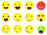 Yellow round smile emoji set. Emoticon icon flat style vector.
