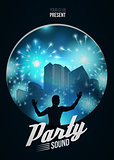 Party Dance Poster Background Template with DJ silhouette on blue urban  - Vector Illustration