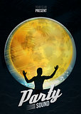 Party dance poster vector background template with moon and DJ silhouette
