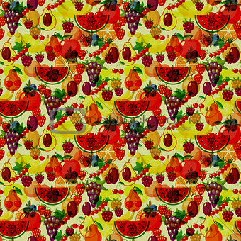 Flat fruits seamless pattern. Vector flat Illustrations of watermelon, banana, cherry, apple, strawberries, raspberries, blackberries, orange, kiwi fruit, pear for web, print and textile