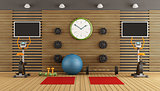 Wooden room with gym equpment