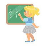 Cute little schoolgirl standing near the blackboard and writing mathematical examples, a colorful character isolated on a white background