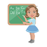 Cute little girl standing near the blackboard and writing letters of the English alphabet, a colorful character isolated on a white background