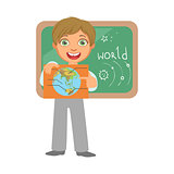 Smiling schoolboy with globe at the black chalkboard in classroom, a colorful character isolated on a white background