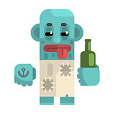 Drunk Alcoholic With Blue Skin Holding Wine Bottle, Revolting Homeless Person, Dreg Of Society, Pixelated Simplified Male Vagabond Character