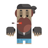 Biker In Bandana And Leather Vest Smoking Cigarette, Revolting Homeless Person, Dreg Of Society, Pixelated Simplified Male Vagabond Character