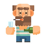 Alcoholic With Glass And Bottle, Revolting Homeless Person, Dreg Of Society, Pixelated Simplified Male Vagabond Character