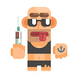 High Junkie With Drug Syringe, Revolting Homeless Person, Dreg Of Society, Pixelated Simplified Male Vagabond Character