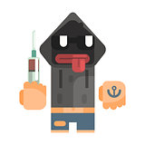 Junkie With Hoodie And Shades Holding Syringe, Revolting Homeless Person, Dreg Of Society, Pixelated Simplified Male Vagabond Character