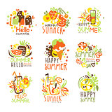 Happy Summer Vacation Sunny Colorful Graphic Design Template Logo Series, Hand Drawn Vector Stencils