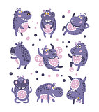 Stylized Hippo With Polka-Dotted Pattern Collection Of Childish Stickers Or Prints Of Friendly Toy Animal In Violet And Blue Color