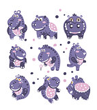 Stylized Hippo With Polka-Dotted Pattern Set Of Childish Stickers Or Prints Of Friendly Toy Animal In Violet And Blue Color