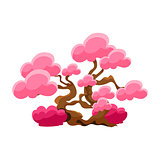 Pink Tree Bonsai Miniature Traditional Japanese Garden Landscape Element Vector Illustration