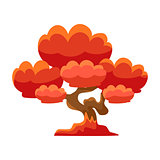 Red Tree Bonsai Miniature Traditional Japanese Garden Landscape Element Vector Illustration
