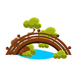 Bridge Over Blue Stream Bonsai Miniature Traditional Japanese Garden Landscape Element Vector Illustration