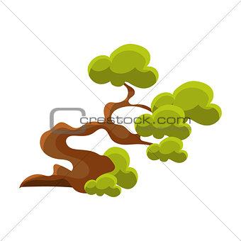 Green Crooked Tree Bonsai Miniature Traditional Japanese Garden Landscape Element Vector Illustration