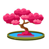 Pink Tree Growing In Pond Bonsai Miniature Traditional Japanese Garden Landscape Element Vector Illustration